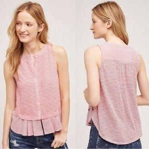 Meadow Rue (Anthro) red stripe sleeveless blouse L